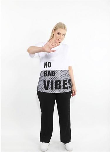 Luokk Gemma  Düşük Omuzlu Yuvarlak Yaka  Kadın T-Shirt Beyaz Beyaz